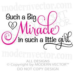 BIG MIRACLE in a LITTLE GIRL Quote Vinyl Wall Decal Word Lettering ...