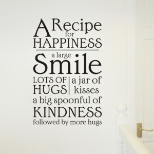 recipe for happiness wall art quote sticker - H560K