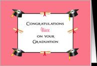 For Niece Graduation Greeting Card-Graduation Caps & Diplomas card ...