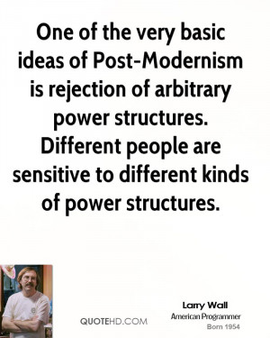 One of the very basic ideas of Post-Modernism is rejection of ...