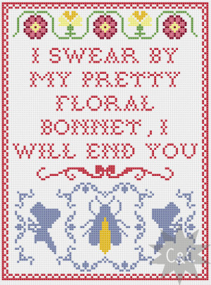 Firefly Captain Mal quote cross stitch sampler pattern - pretty floral ...