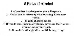 Rules of Alchohol.....