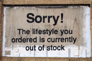 Banksy's Out of Stock , in Poplar, London