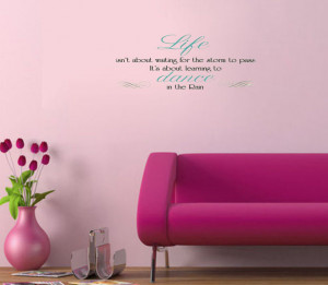 New DANCE IN THE RAIN QUOTE WALL DECALS Inspiration vinyl wall quote ...