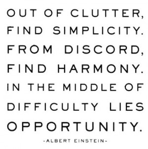 simplicity and harmony out of clutter
