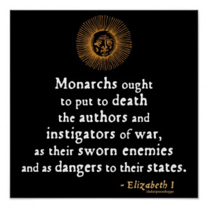 Elizabeth I Quote on War Poster