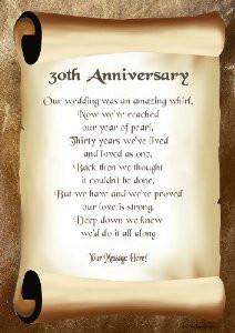 30th Anniversary Personalised Poem Gift Print