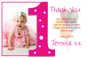 ... 10 Personalised Girls 1st First Birthday Thank You PHOTO Cards N192