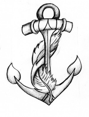 Anchor Drawing Anchor and feather by