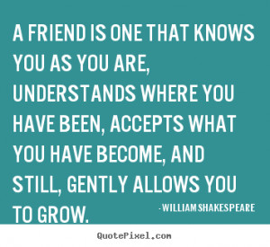 William Shakespeare Quotes - A friend is one that knows you as you are ...