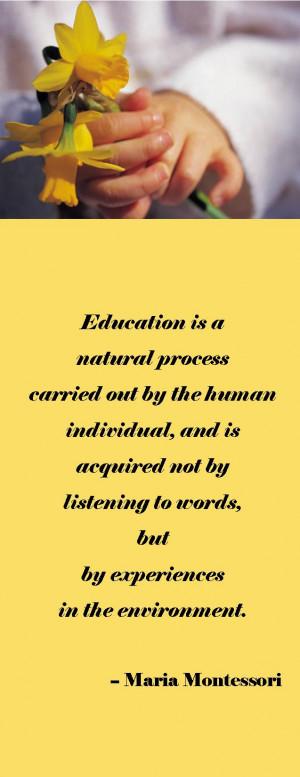 Montessori says ….