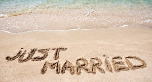 Just Married sign in sand