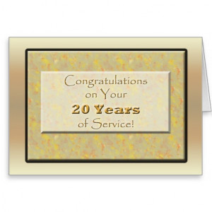 Employee 20 Years of Service or Anniversary Greeting Cards