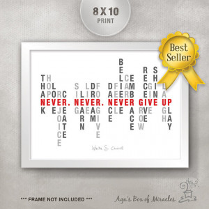 Never Give Up 8x10 Inspirational Quote Print / Graduation Gift ...