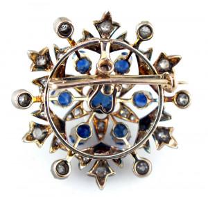 Diamond and Blue Sapphire Star Brooch