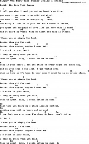 Love Song Lyrics for: Simply The Best-Tina Turner with chords for ...