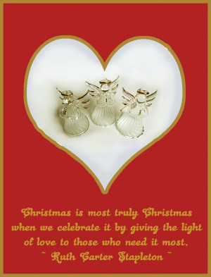 ... Christmas card with glass angels in a heart and a quote of love