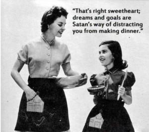 1950s, dinner, funny, old, satan, vintage, woman