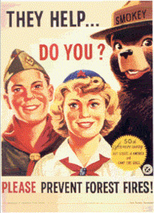 Smokey Bear with members of the Boy Scouts of America and the Camp ...