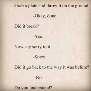Apologies don't fix everything lesson. No name calling.