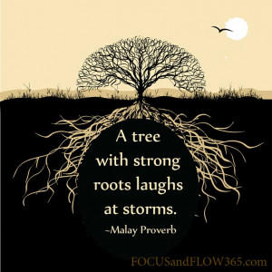 with strong roots laughs at storms