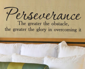 ... Sticker Quote Vinyl Art Lettering Perseverance Overcome Obstacles J56