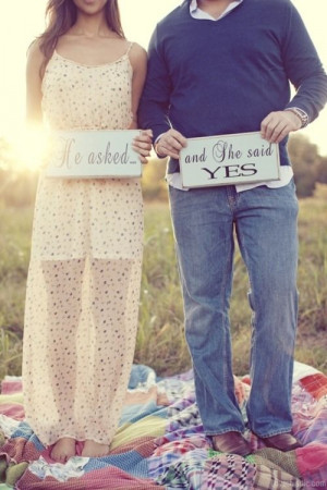 ... said yes love quotes cute wedding couples outdoors signs engagement