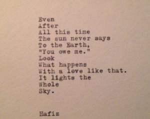 Hafiz Quote Typed on Typewriter