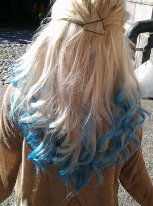... platinum hair with blue dip dyed ends from smurffiinas.tumblr.com