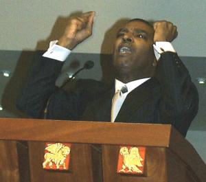 Rev Dr DeForest Buster Soaries addresses the congregation at