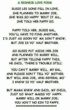 redneck love poem cute and funny more laugh redneck love quotes ...