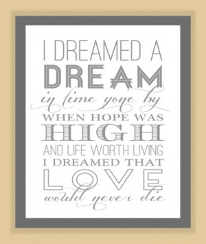 Les Miserables I DREAMED a DREAM Quote modern print poster musical ...