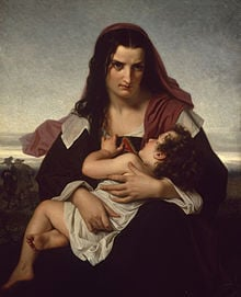 painting, The Scarlet Letter by Hugues Merle , Hester Prynne and Pearl ...