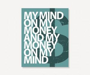 quote art my mind on my money green modern art print digital print for ...