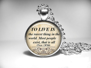 Oscar Wilde quote necklace, inspirational words jewelry, motivational ...