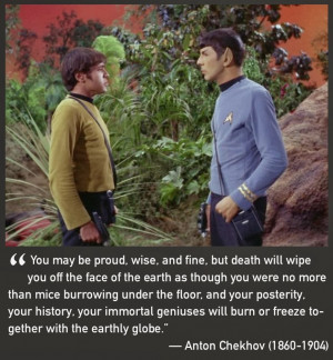 Pictures of Pavel Chekov with quotes by Anton Chekhov
