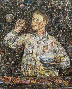 Famous Masterpieces made from torn magazines