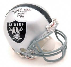 This autographed mini helmet is personally hand signed by Jim Otto