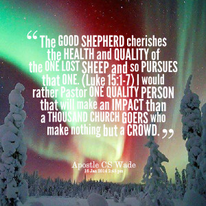 good shepherd cherishes the health and quality of the one lost sheep ...