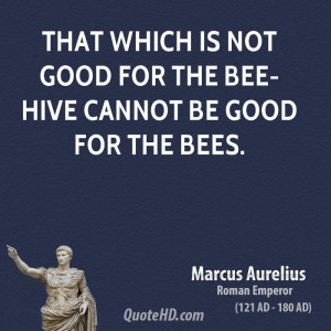 That which is not good for the bee-hive cannot be good for the bees.