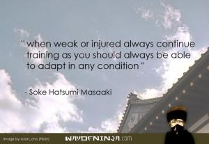 Hatsumi Masaaki's quote on training when injured.