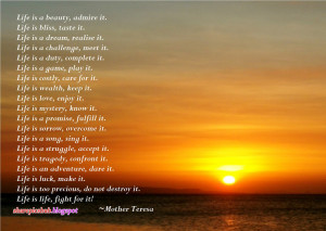 Life By Mother Teresa Beautiful Poem in English | Mother Teresa Quotes ...