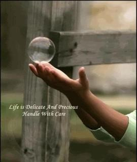 Life is delicate and precious handle with care.