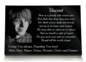 ... own etched photograph and your own choice of a memorial poem for child