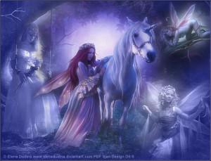 Fairies And Unicorns Forest Fairies with Unicorns