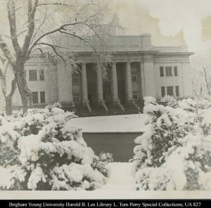 The Karl G. Maeser Building looks out over a snow covered Brigham ...