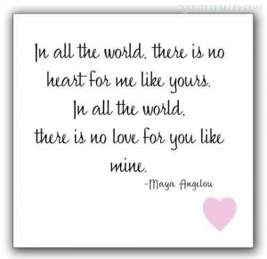 In All The World, There Is No Heart For Me Like Yours In All The World