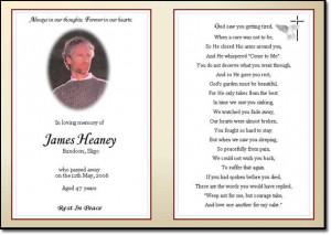 Sample memorial card inside