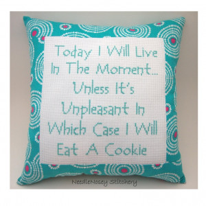 Funny Cross Stitch Pillow, Funny Quote, Teal And Pink Pillow, Live In ...