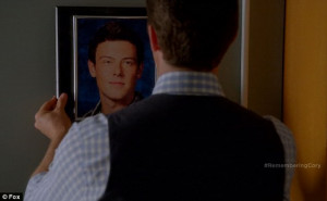 Gone but not forgotten: Mr Schue proudly hung the tribute up on the ...